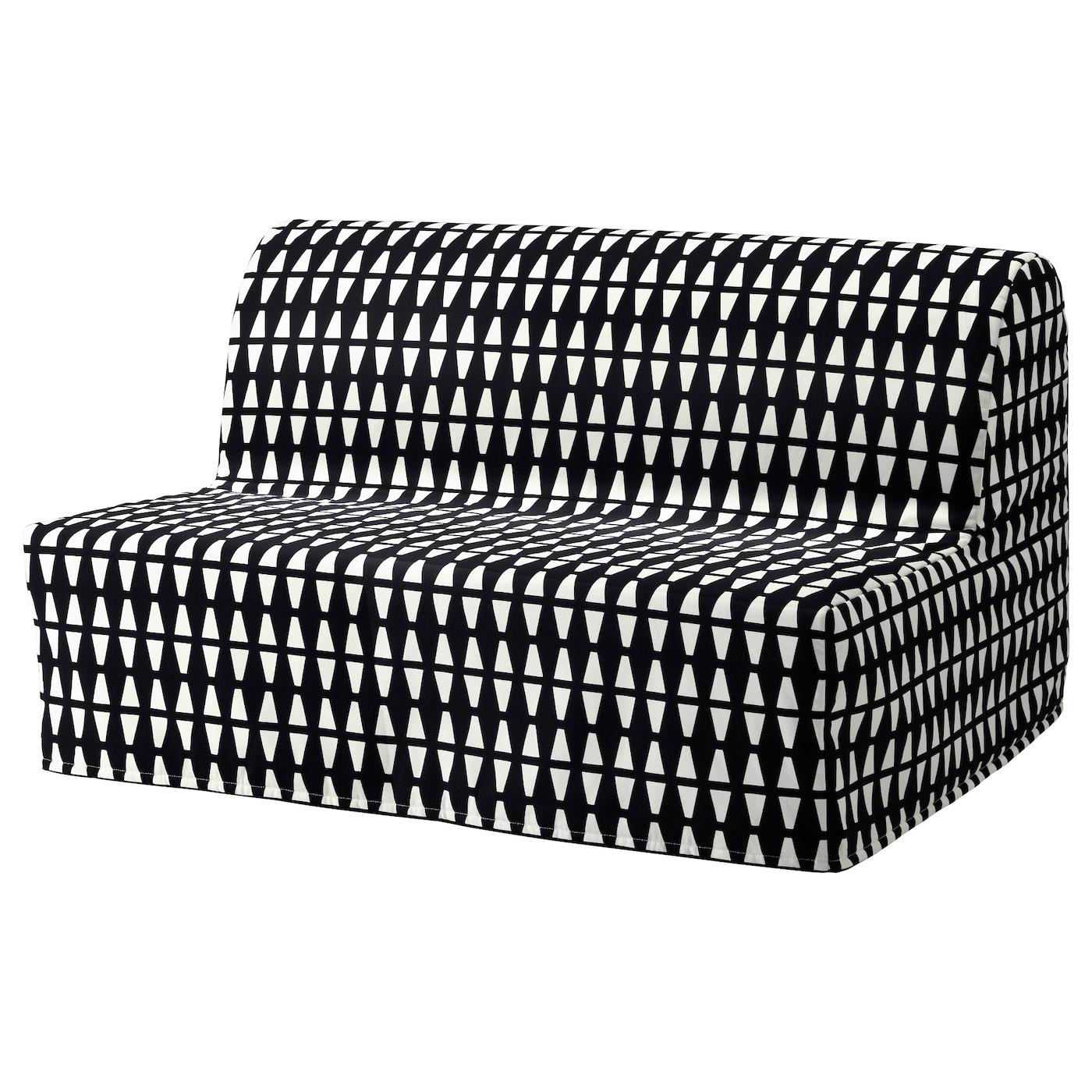 IKEA LYCKSELE MURBO czarno-biała, dwuosobowa sofa rozkładana