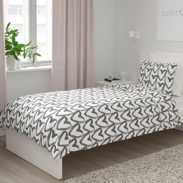 LYKTFIBBLA Poszwa na kołdrę i poszewka, biały/szary, 150x200/50x60 cm