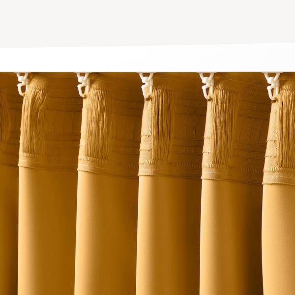 MAJGULL Zasłony zacieniające, 1 para, żółty, 145x300 cm