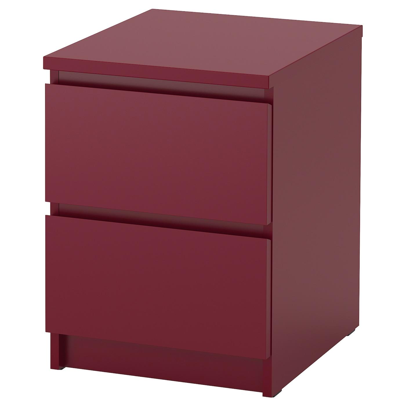 IKEA MALM Komoda, 2 szuflady, ciemnoczerwony, 40x55 cm