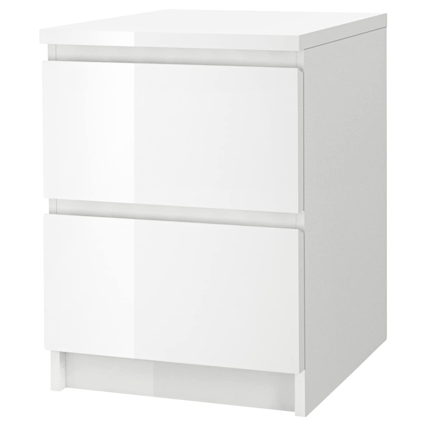 IKEA MALM biała komoda z dwiema szufladami o wysokim połysku, 40x55 cm