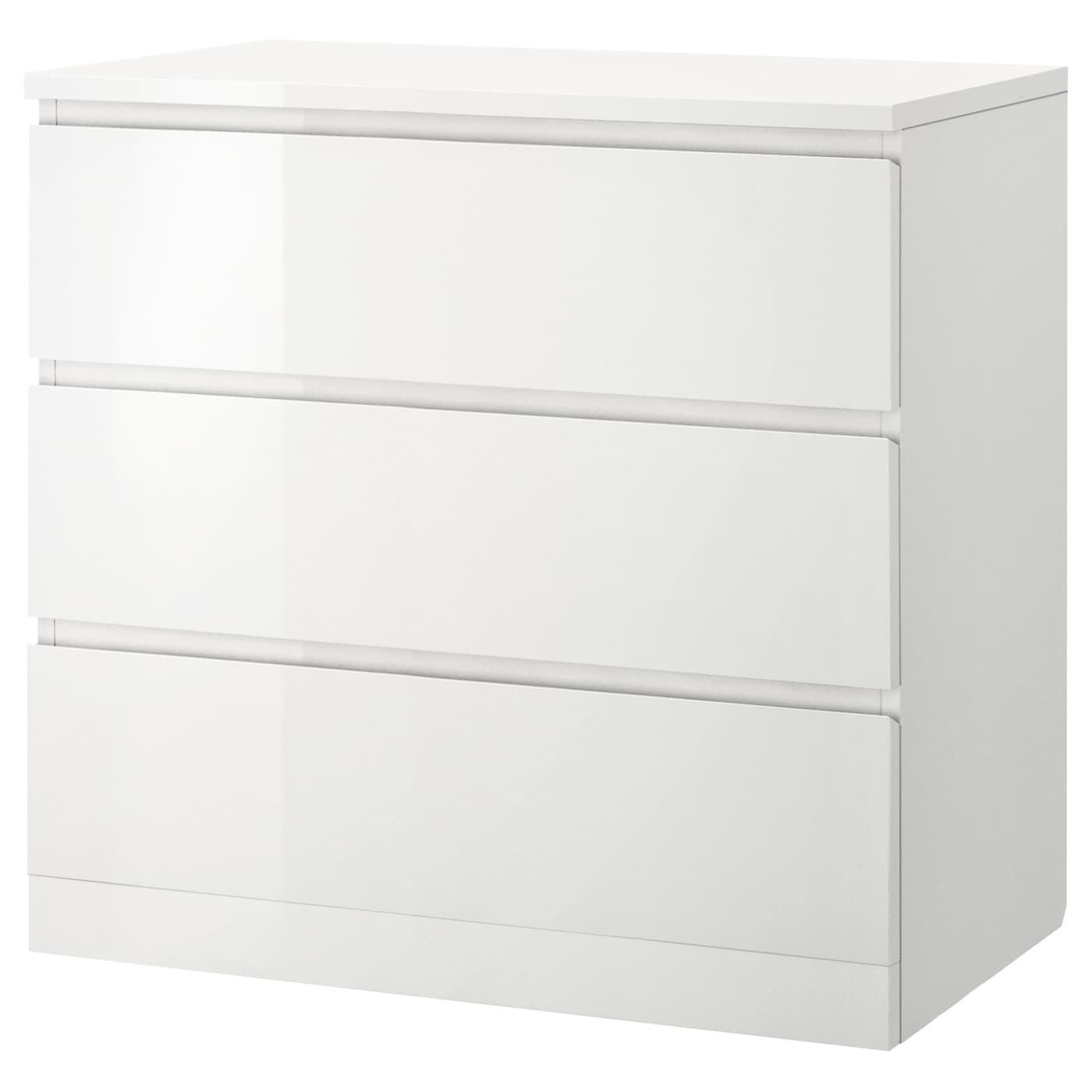 IKEA MALM Komoda, 3 szuflady, biały połysk biały, 80x78 cm