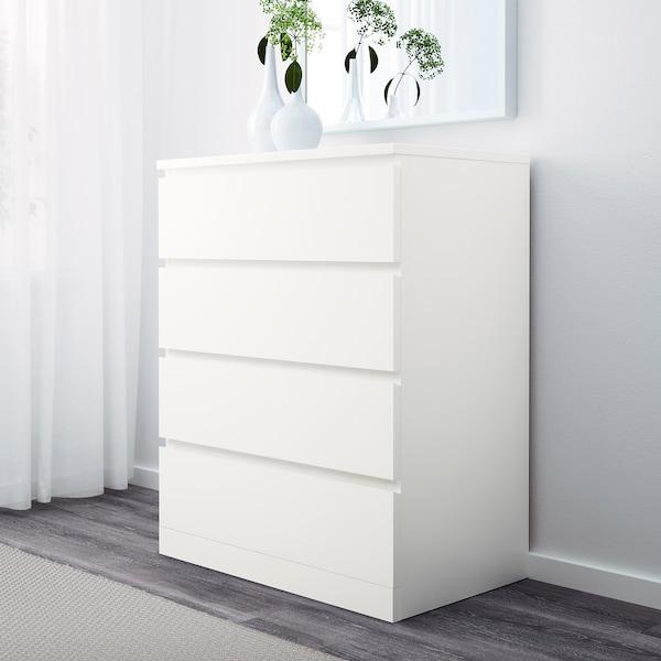 MALM komoda, 4 szuflady biały 80 cm 48 cm 100 cm 72 cm 43 cm