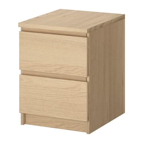 MALM Komoda, 2 szuflady , okleina dębowa bejcowana na biało Szerokość: 40 cm Głębokość: 48 cm Wysokość: 55 cm