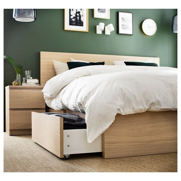 MALM Rama łóżka z 2 pojemnikami, okleina dębowa bejcowana na biało/Leirsund, 140x200 cm