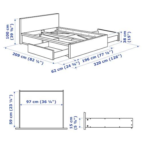 МАЛЬМ Каркас кровати с 4 ящиками для хранения, белый / Лёнсет, 180x200 см