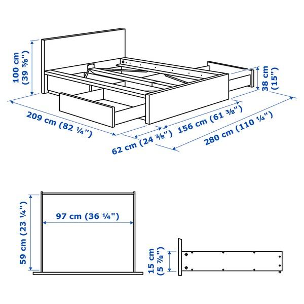 MALM Rama łóżka z 4 pojemnikami, okleina dębowa bejcowana na biało/Leirsund, 140x200 cm