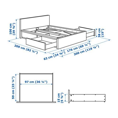 МАЛЬМ Высокий каркас кровати/4 ящика, белый, 160x200 см-5