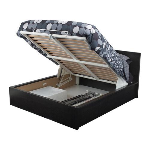 malm ko z pojemnikiem czarnobr z 160x200 cm ikea. Black Bedroom Furniture Sets. Home Design Ideas