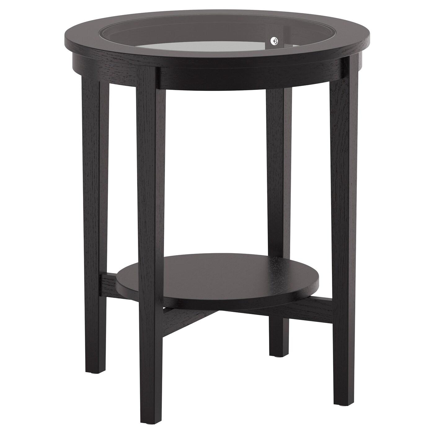 IKEA MALMSTA czarnobrązowy stolik, średnica 54 cm