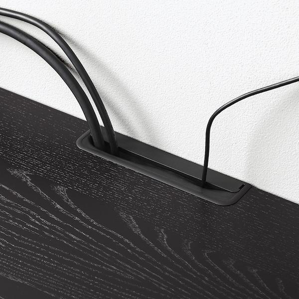 MALSJÖ Ława TV przesuwane drzwi, bejcowane na czarno, 160x48x59 cm