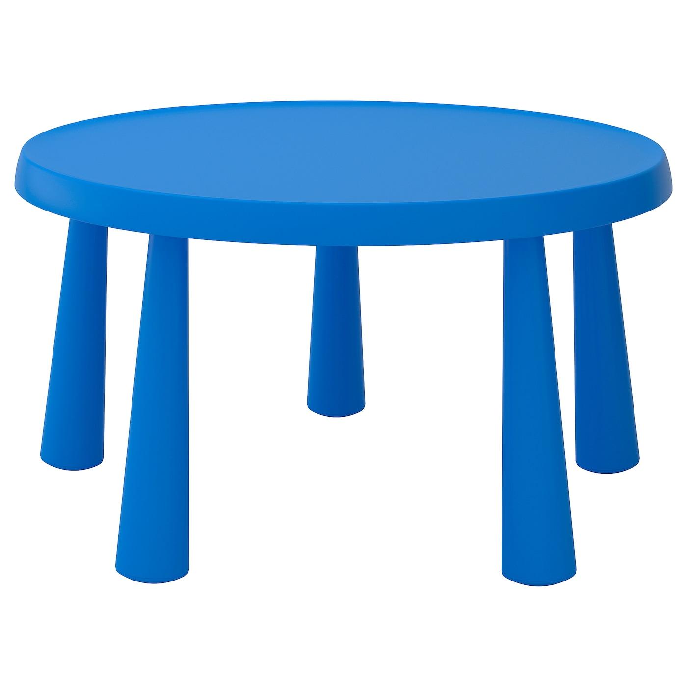 IKEA MAMMUT niebieski, okrągły stolik dziecięcy, do wewnątrz lub na zewnątrz, średnica 85 cm