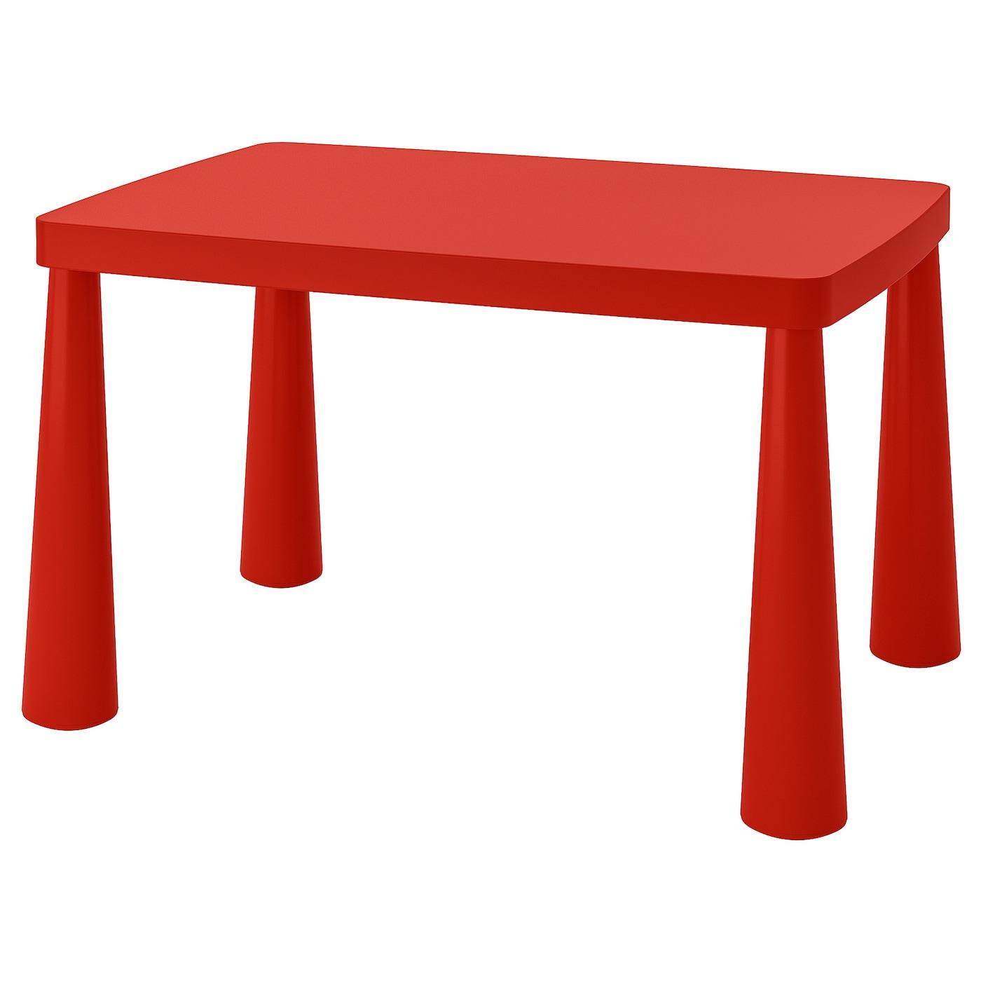 IKEA MAMMUT czerwony stolik dziecięcy, do wewnątrz lub na zewnątrz, 77x55 cm