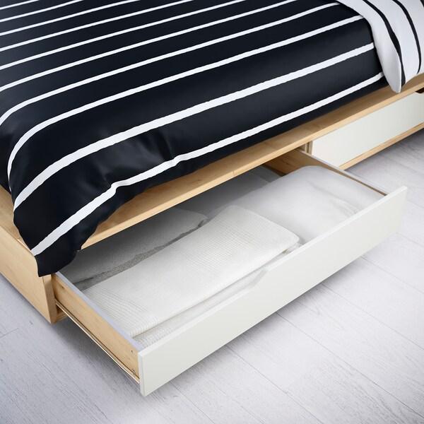 MANDAL Rama łóżka z szufladami, brzoza/biały, 140x202 cm