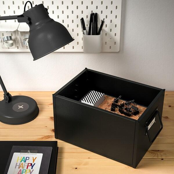 MANICK Pudełko z pokrywką, czarny, 25x35x20 cm