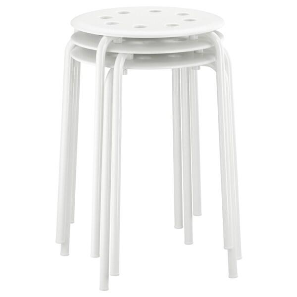 MARIUS stołek biały 100 kg 32 cm 40 cm 45 cm