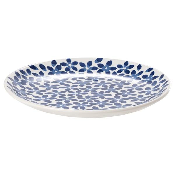 MEDLEM Talerzyk, biały/niebieski/wzór, 22 cm