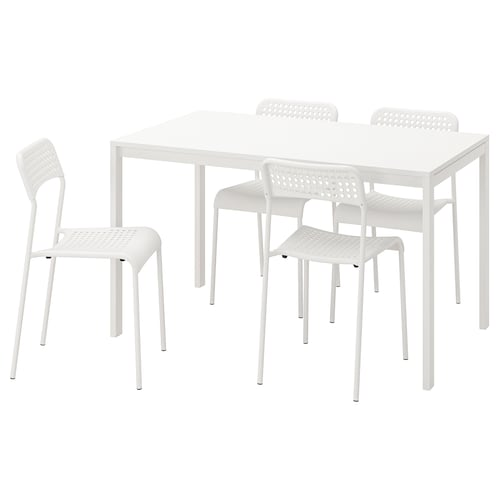 MELLTORP / ADDE stół i 4 krzesła biały 125 cm 75 cm 72 cm