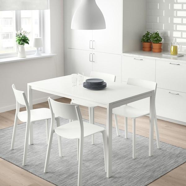 MELLTORP / JANINGE Stół i 4 krzesła, biały/biały, 125 cm