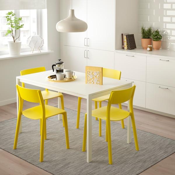 MELLTORP / JANINGE Stół i 4 krzesła, biały/żółty, 125 cm