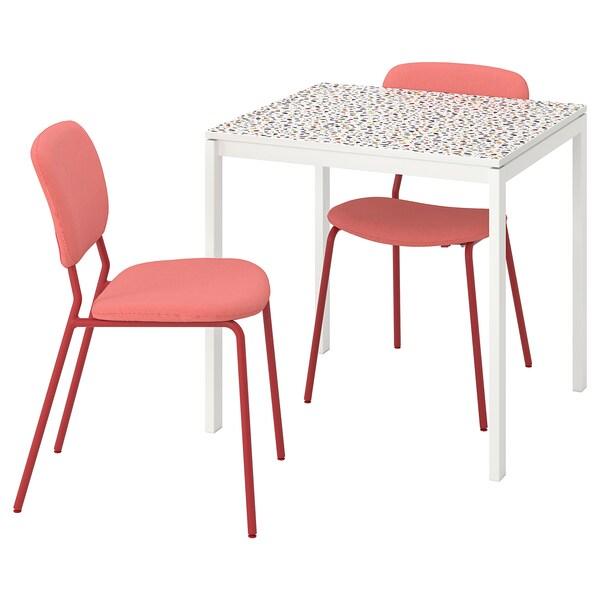 MELLTORP / KARLJAN Stół i 2 krzesła, wzór mozaika biały/Kabusa czerwony, 75x75 cm