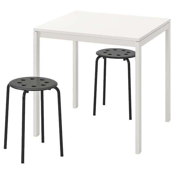 MELLTORP / MARIUS Stół i 2 stołki, biały/czarny, 75 cm