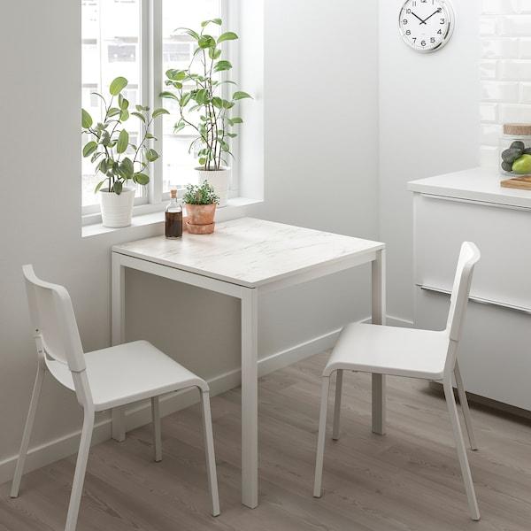 MELLTORP stół biały marmur/biały 75 cm 75 cm 74 cm