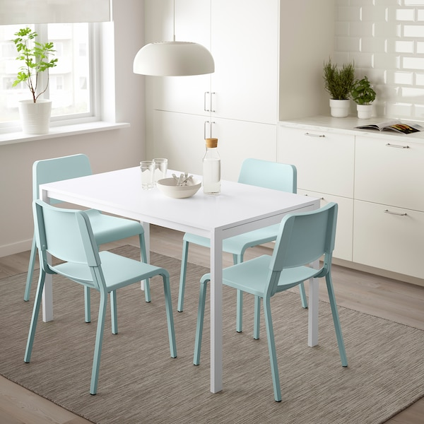 MELLTORP / TEODORES Stół i 4 krzesła, biały/jasnoturkusowy, 125 cm