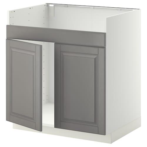 METOD szafka pod zlew HAVSEN 2kom biały/Bodbyn szary 80.0 cm 61.9 cm 88.0 cm 60.0 cm 80.0 cm