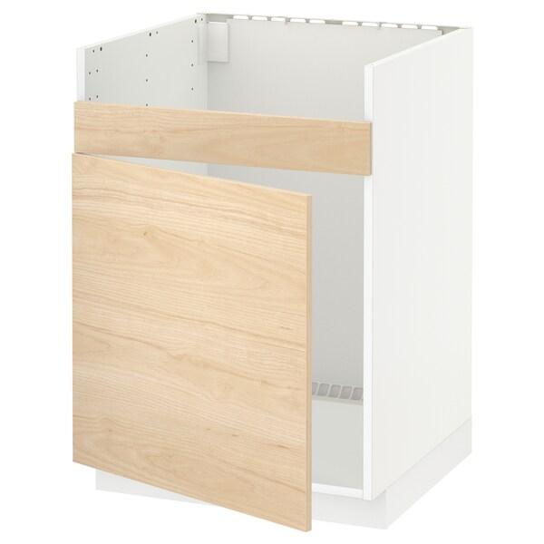 METOD szafka pod zlew HAVSEN 1kom biały/Askersund wzór jasny jesion 60.0 cm 61.6 cm 88.0 cm 60.0 cm 80.0 cm