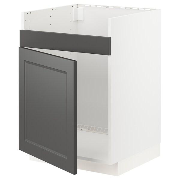 METOD szafka pod zlew HAVSEN 1kom biały/Axstad ciemnoszary 60.0 cm 61.9 cm 88.0 cm 60.0 cm 80.0 cm