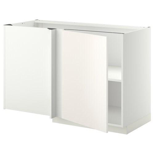 METOD narożna szafka stojąca z półką biały/Veddinge biały 127.5 cm 67.5 cm 88.0 cm 80.0 cm