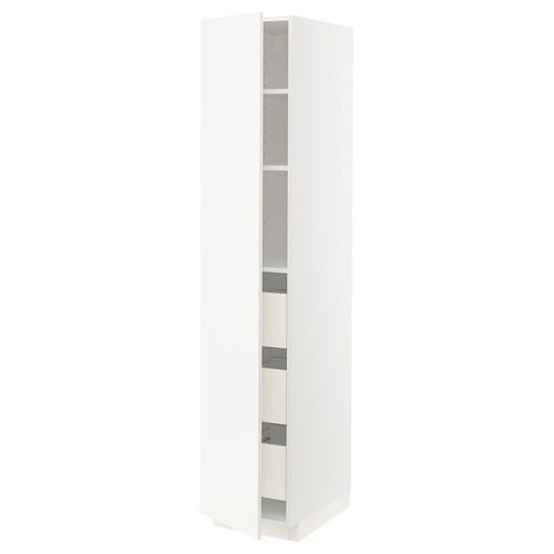 METOD / FÖRVARA szafka wysoka z szufladami biały/Veddinge biały 40.0 cm 61.6 cm 208.0 cm 60.0 cm 200.0 cm