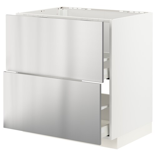 METOD / MAXIMERA sz stj zl+2fr/2szu biały/Vårsta stal nierdz 80.0 cm 61.6 cm 88.0 cm 60.0 cm 80.0 cm