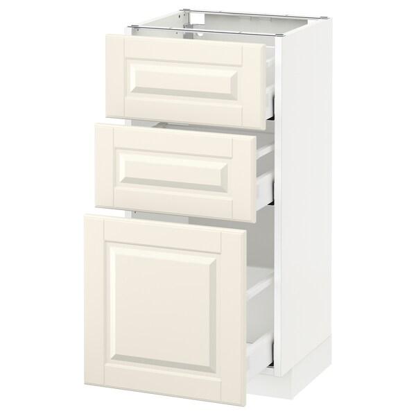 METOD / MAXIMERA szafka stojąca z 3 szufladami biały/Bodbyn kremowy 40.0 cm 39.5 cm 88.0 cm 37.0 cm 80.0 cm