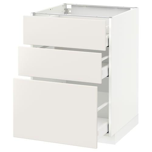 METOD / MAXIMERA szafka stojąca z 3 szufladami biały/Veddinge biały 60.0 cm 61.6 cm 88.0 cm 60.0 cm 80.0 cm