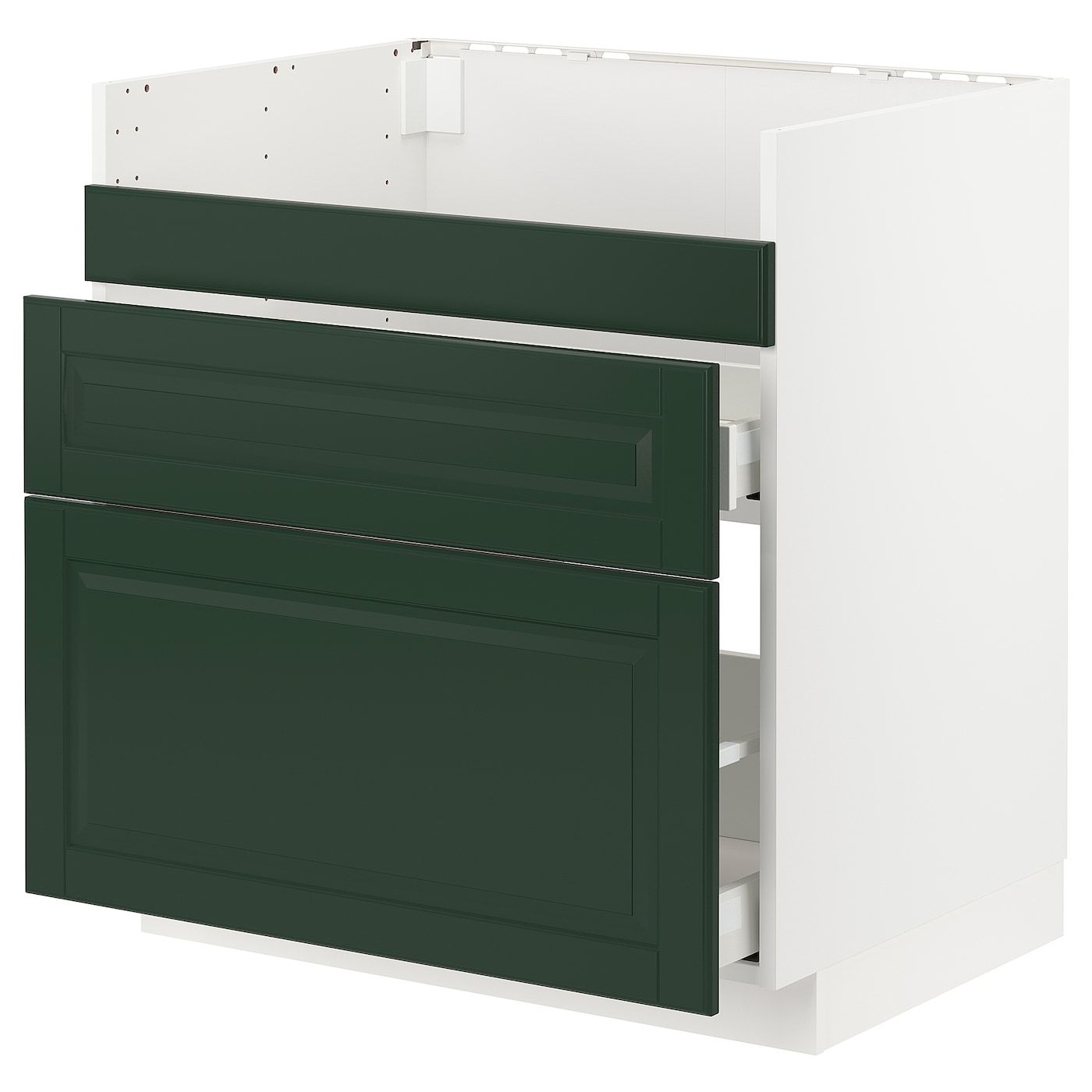 IKEA METOD / MAXIMERA Szafka pod zlew HAVSEN/3fr/2szu, biały, Bodbyn ciemnozielony, 80x60 cm