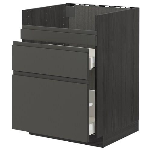 METOD / MAXIMERA szafka pod zlew HAVSEN/3fr/2szu czarny/Voxtorp ciemnoszary 60.0 cm 62.1 cm 88.0 cm 60.0 cm 80.0 cm