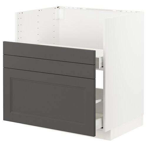 METOD / MAXIMERA szafka st zlew BREDSJÖN/2fr/2szu biały/Axstad ciemnoszary 80.0 cm 61.6 cm 88.0 cm 60.0 cm 80.0 cm