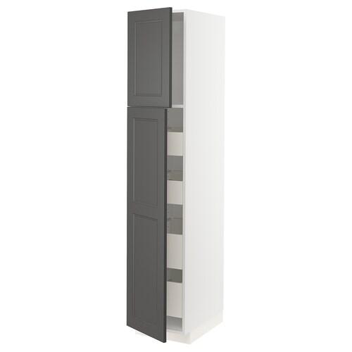 METOD / MAXIMERA w szafka z 2drzwi/4szufl biały/Axstad ciemnoszary 40.0 cm 61.9 cm 208.0 cm 60.0 cm 200.0 cm