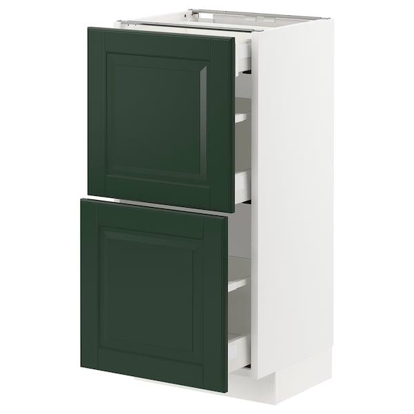 METOD / MAXIMERA Sz stj 2fr/3szu, biały/Bodbyn ciemnozielony, 40x37 cm