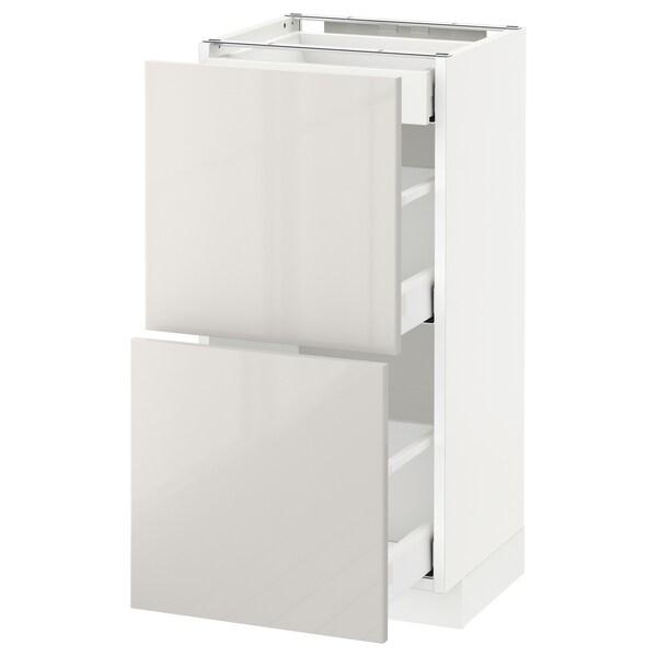 METOD / MAXIMERA Sz stj 2fr/3szu, biały/Ringhult jasnoszary, 40x37 cm