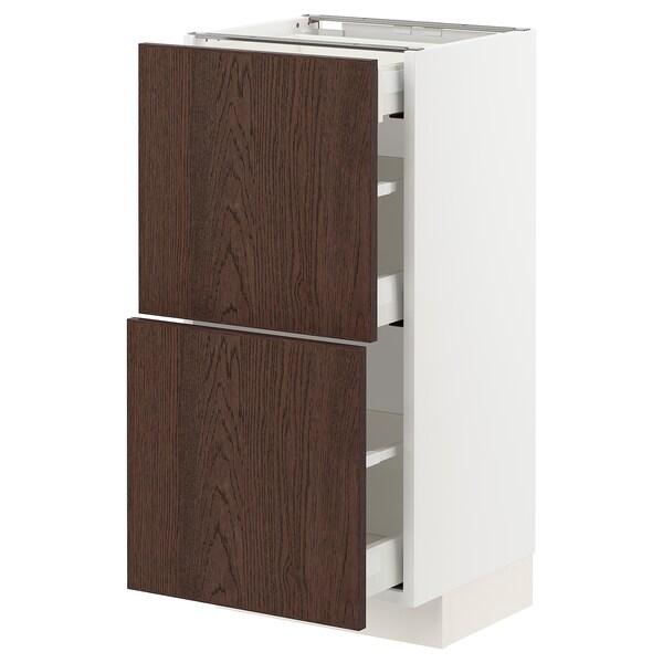 METOD / MAXIMERA Sz stj 2fr/3szu, biały/Sinarp brązowy, 40x37 cm