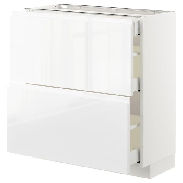 METOD / MAXIMERA Sz stj 2fr/3szu, biały/Voxtorp połysk/biel, 80x37 cm