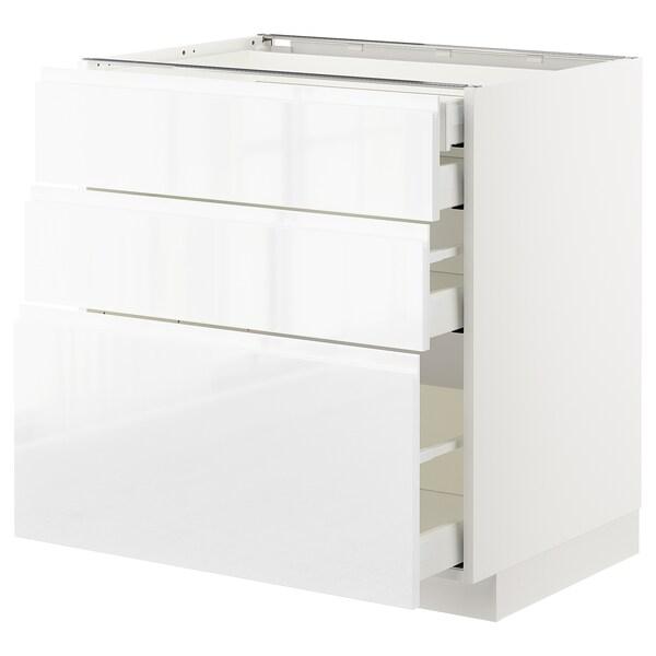 METOD / MAXIMERA Sz stj 3fr/2n/śr/w szu, biały/Voxtorp połysk/biel, 80x60 cm