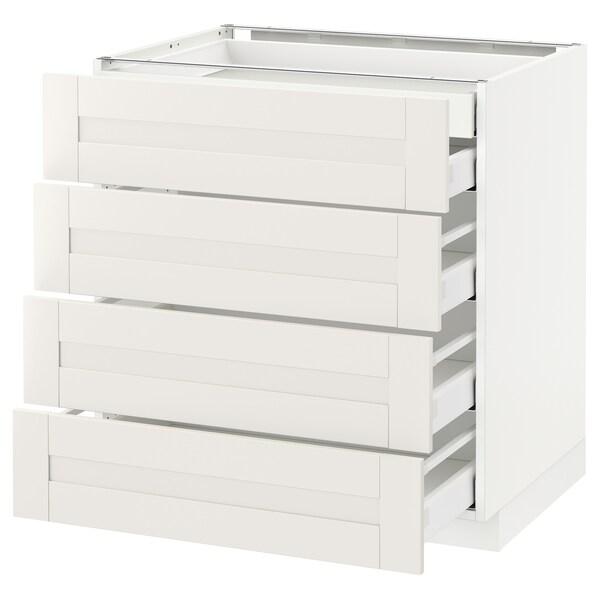 METOD / MAXIMERA Sz stj 4fr/2n/3śr szu, biały/Sävedal biały, 80x60 cm