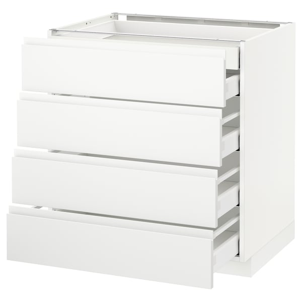 METOD / MAXIMERA Sz stj 4fr/2n/3śr szu, biały/Voxtorp matowy biały, 80x60 cm