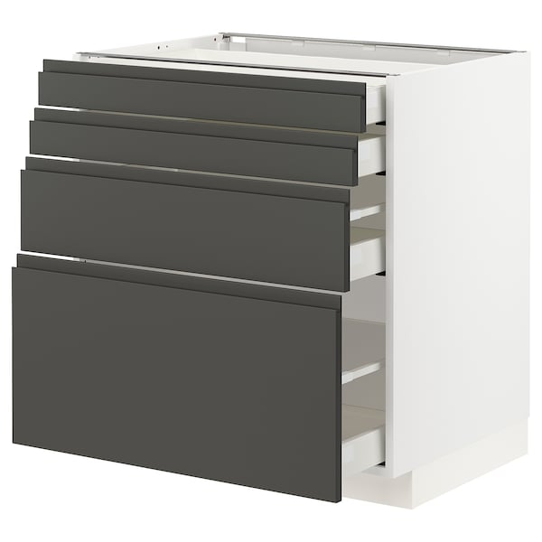 METOD / MAXIMERA Sz stj 4fr/4szu, biały/Voxtorp ciemnoszary, 80x60 cm