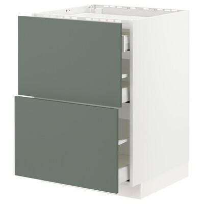 METOD / MAXIMERA Sz stj pł/2fr/3szu, biały/Bodarp szarozielony, 60x60 cm