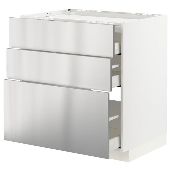 METOD / MAXIMERA Sz stj pł/3fr/3szu, biały/Vårsta stal nierdz, 80x60 cm